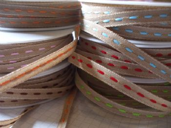 STITCHED DECORATIVE RIBBON 6mm x 4 mts